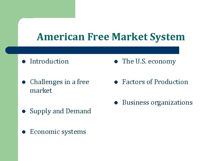 American Free Market System l Introduction l The U. S. economy l Challenges in