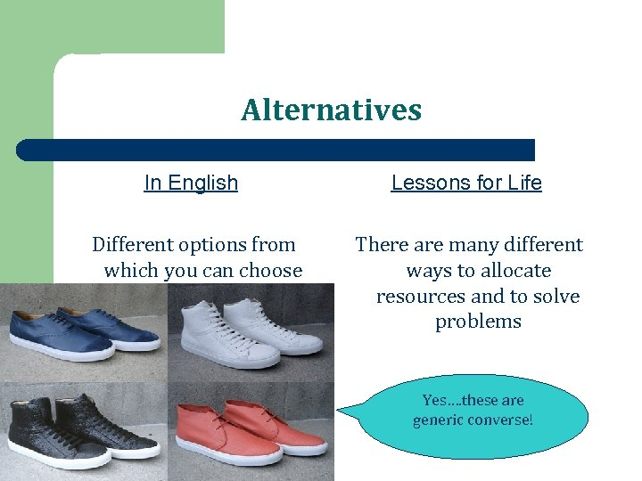 Alternatives In English Lessons for Life Different options from which you can choose There
