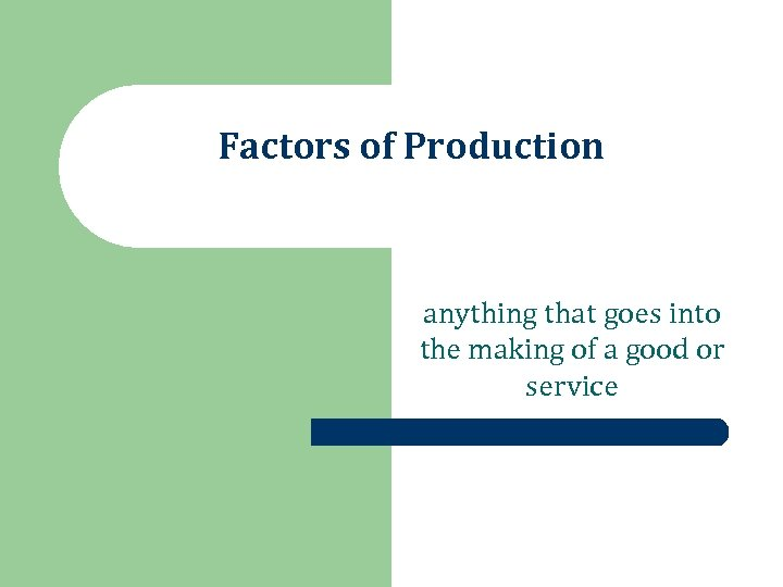 Factors of Production anything that goes into the making of a good or service