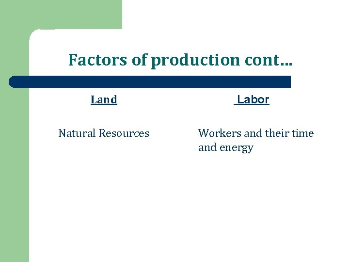 Factors of production cont… Land Labor Natural Resources Workers and their time and energy