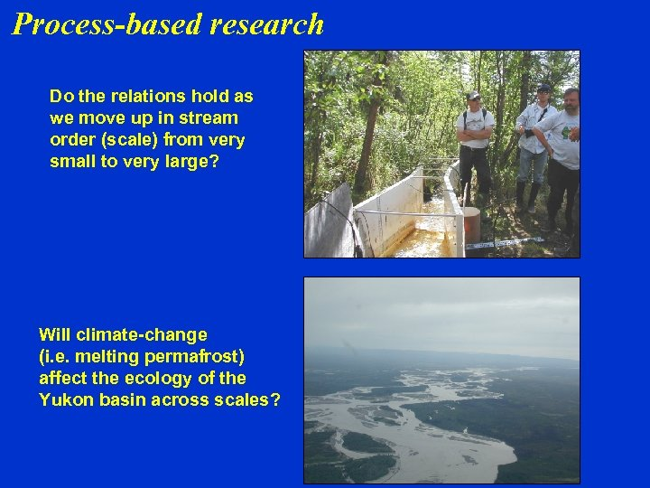 Process-based research Do the relations hold as we move up in stream order (scale)