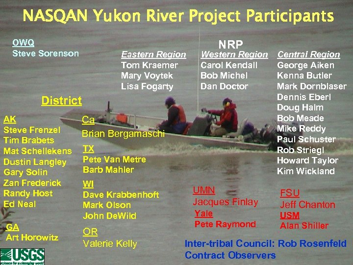 NASQAN Yukon River Project Participants OWQ Steve Sorenson Eastern Region Tom Kraemer Mary Voytek