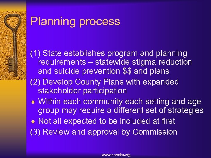Planning process (1) State establishes program and planning requirements – statewide stigma reduction and