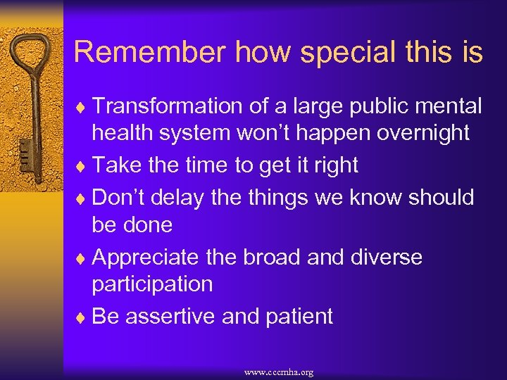 Remember how special this is ¨ Transformation of a large public mental health system