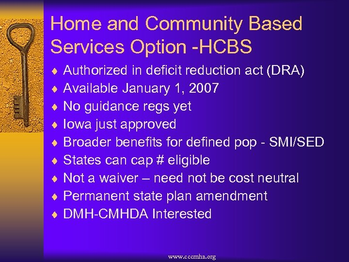 Home and Community Based Services Option -HCBS ¨ Authorized in deficit reduction act (DRA)