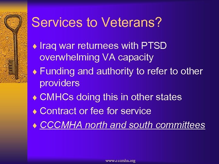 Services to Veterans? ¨ Iraq war returnees with PTSD overwhelming VA capacity ¨ Funding