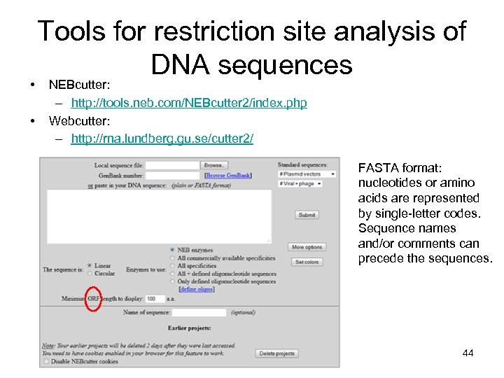 • • Tools for restriction site analysis of DNA sequences NEBcutter: – http: