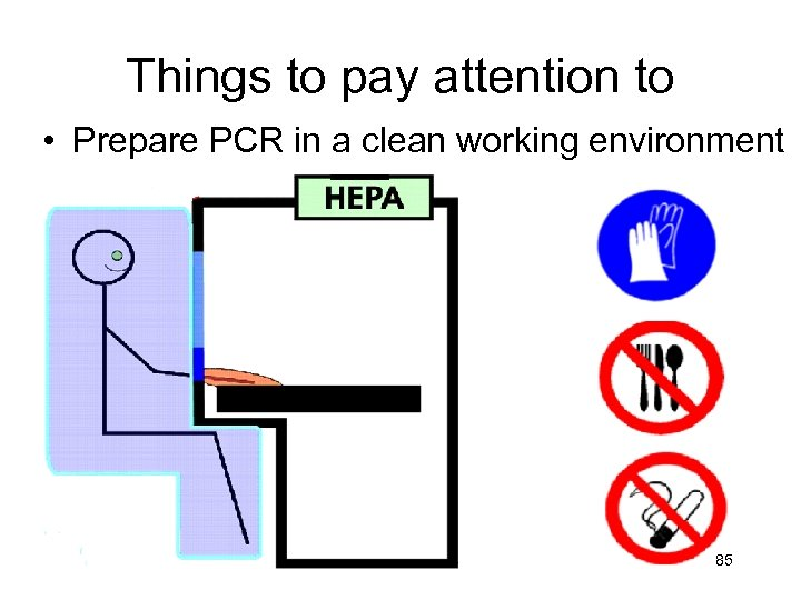 Things to pay attention to • Prepare PCR in a clean working environment 85
