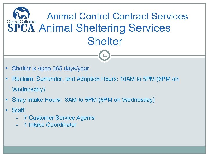 Animal Control Contract Services Animal Sheltering Services Shelter 14 • Shelter is open 365