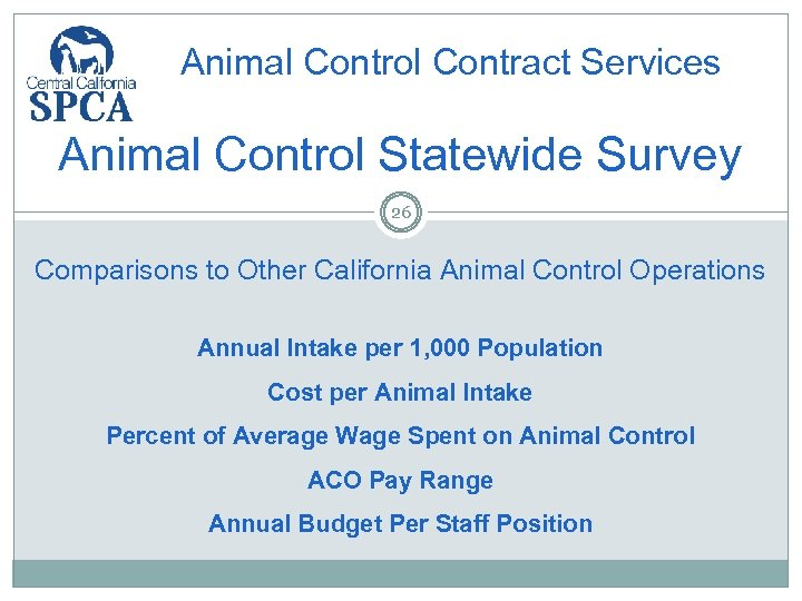 Animal Control Contract Services Animal Control Statewide Survey 26 Comparisons to Other California Animal