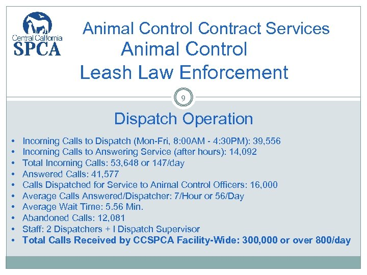 Animal Control Contract Services Animal Control Leash Law Enforcement 9 Dispatch Operation • •