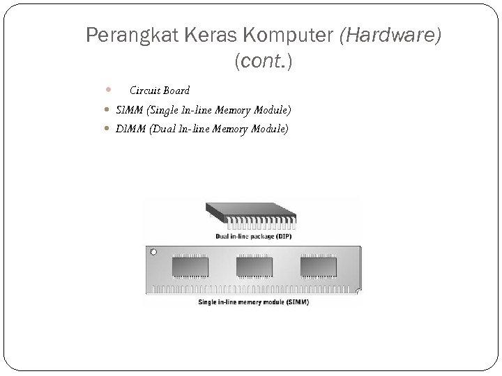 Perangkat Keras Komputer (Hardware) (cont. ) Circuit Board SIMM (Single In-line Memory Module) DIMM