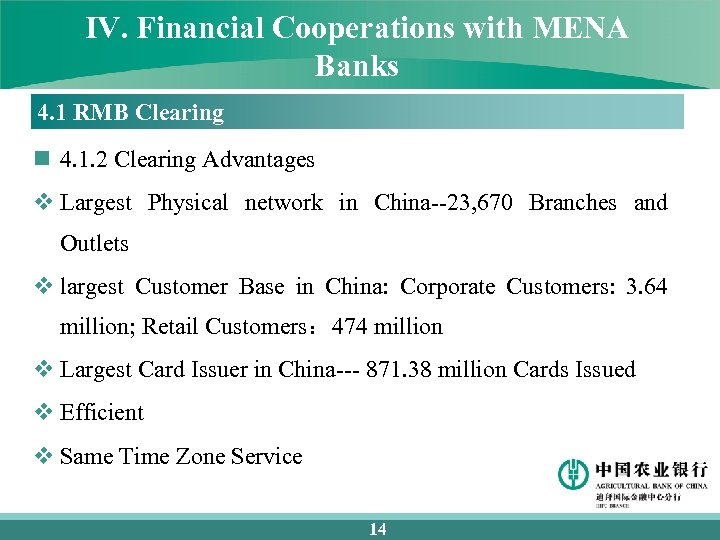 IV. Financial Cooperations with MENA Banks 4. 1 RMB Clearing n 4. 1. 2