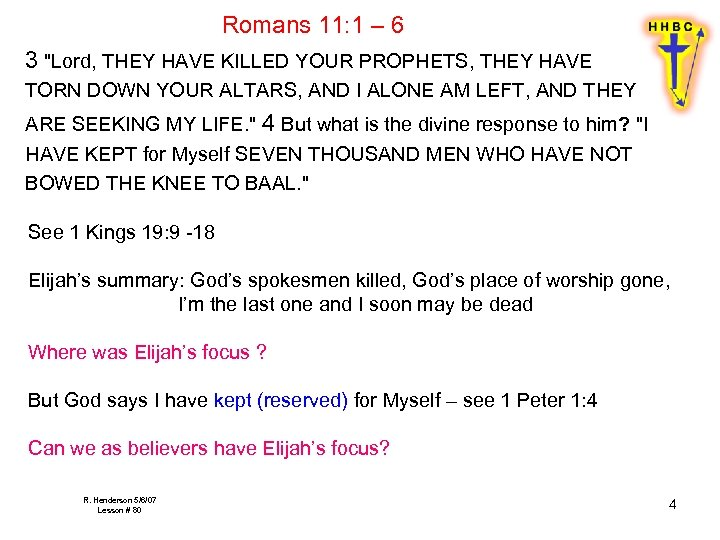 Romans 11: 1 – 6 3