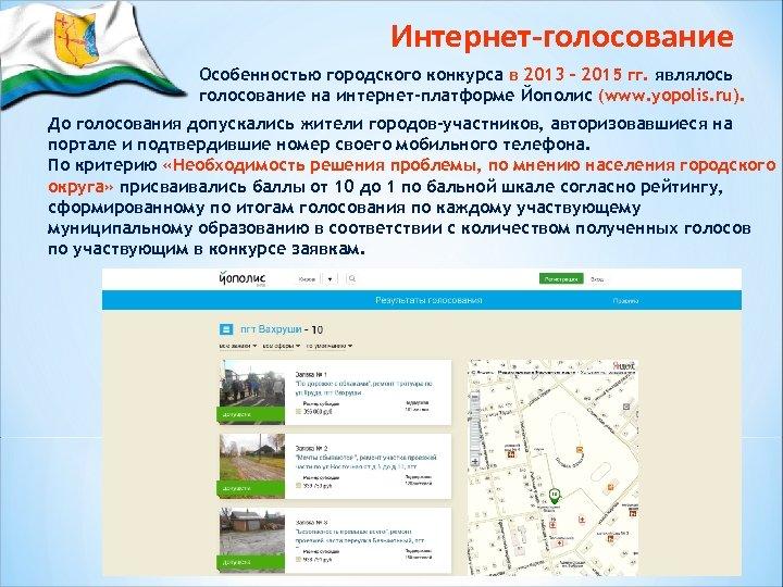 Интернет-голосование Особенностью городского конкурса в 2013 – 2015 гг. являлось голосование на интернет-платформе Йополис