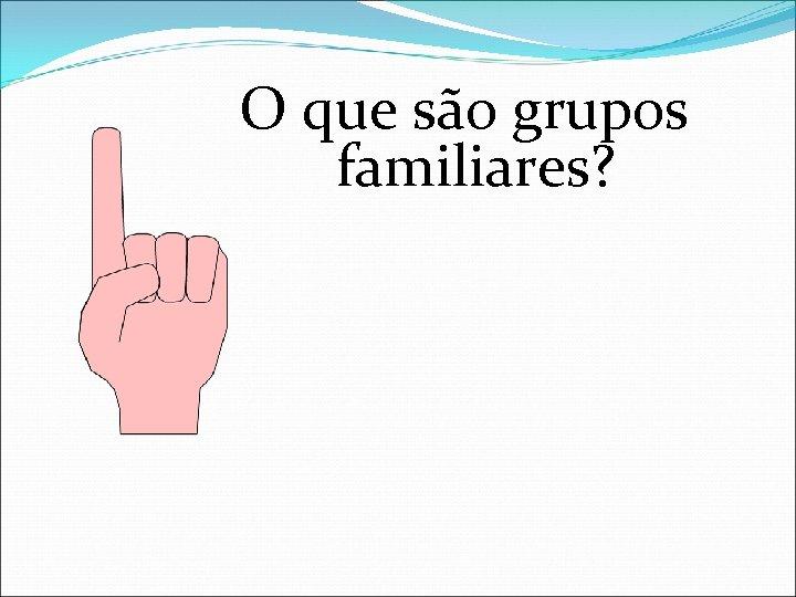 O que são grupos familiares?