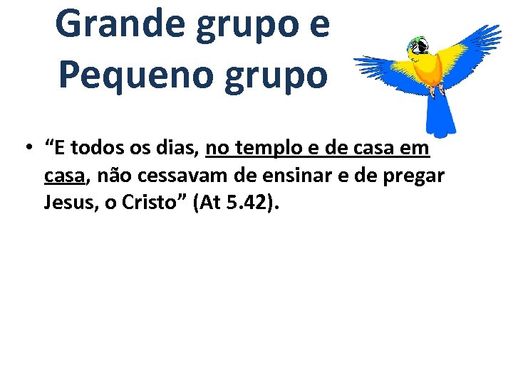 "Grande grupo e Pequeno grupo • ""E todos os dias, no templo e de"