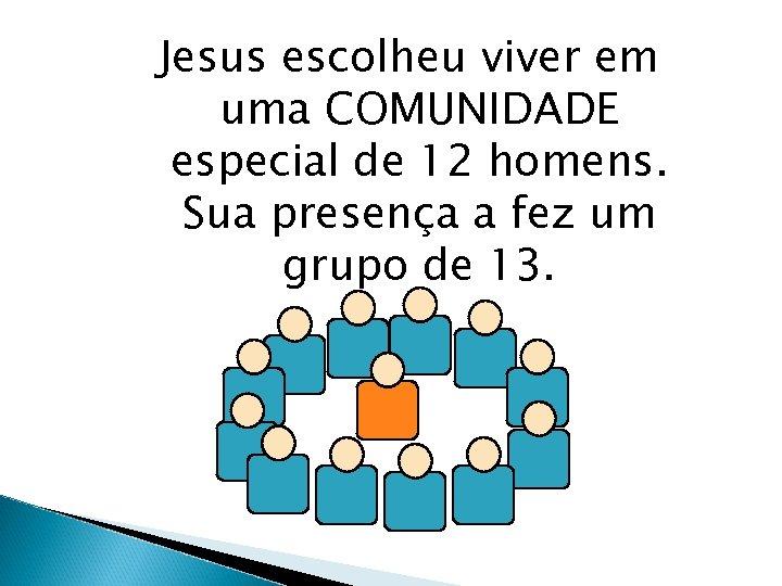 Jesus escolheu viver em uma COMUNIDADE especial de 12 homens. Sua presença a fez