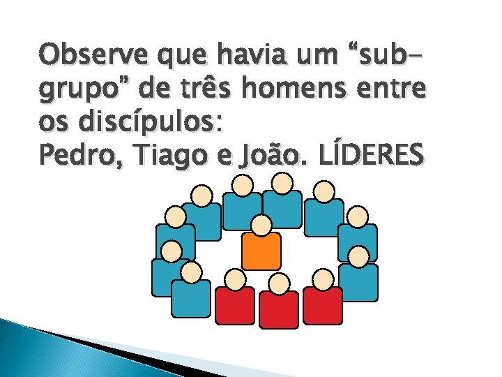 """Observe que havia um """"subgrupo"""" de três homens entre os discípulos: Pedro, Tiago e"""