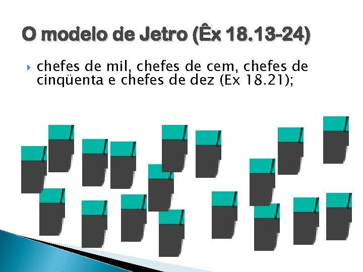 O modelo de Jetro (Êx 18. 13 -24) chefes de mil, chefes de cem,