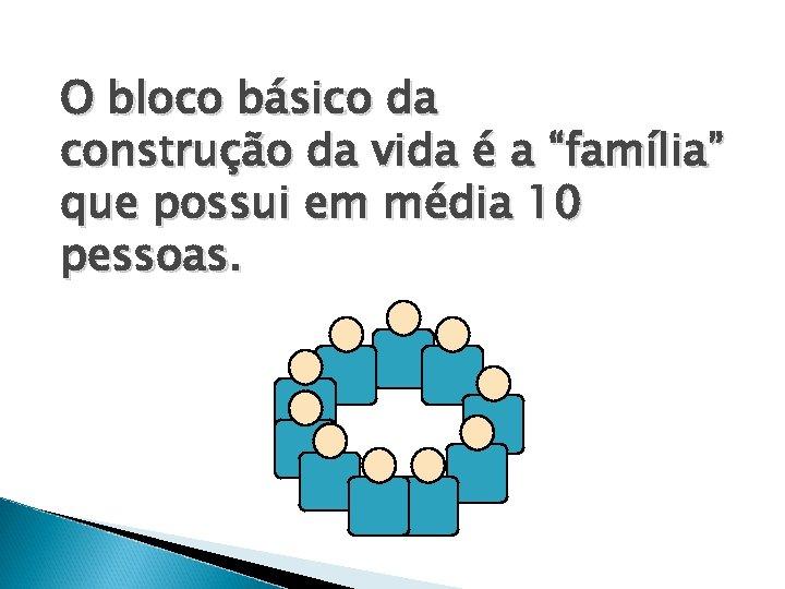 """O bloco básico da construção da vida é a """"família"""" que possui em média"""