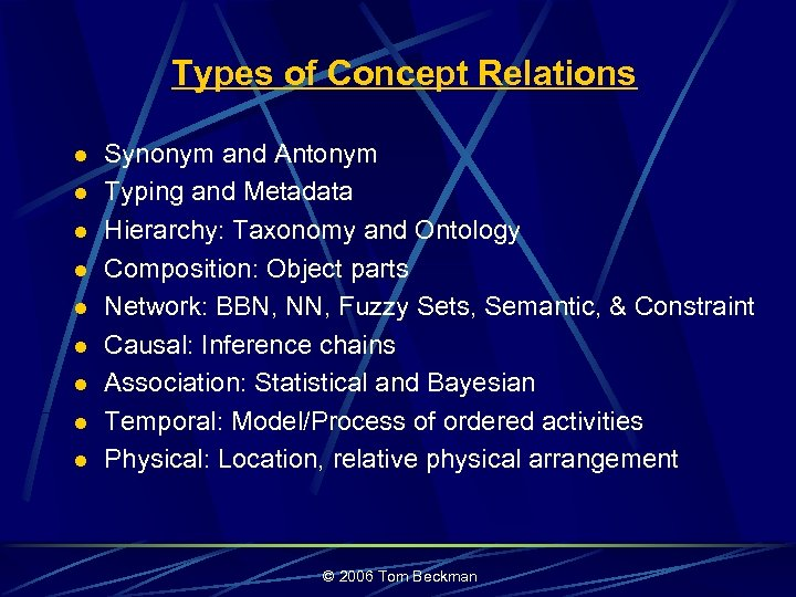 Types of Concept Relations l l l l l Synonym and Antonym Typing and