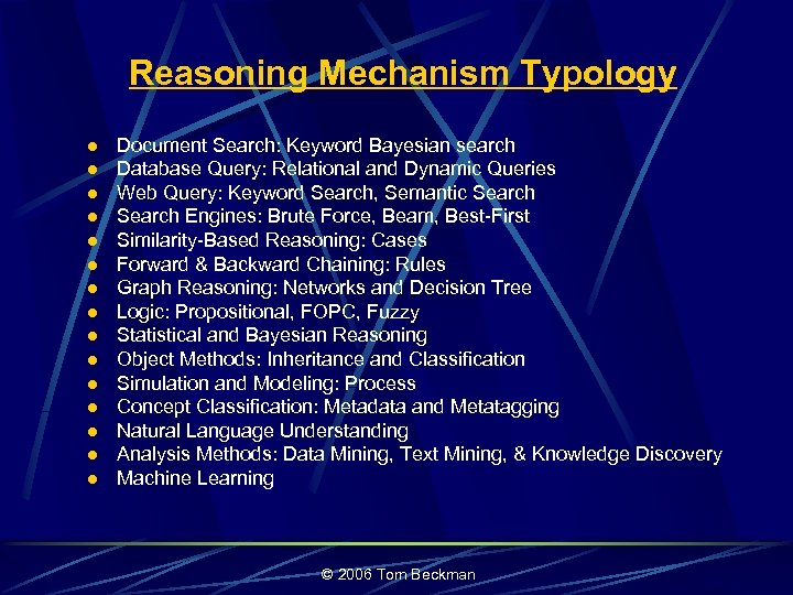 Reasoning Mechanism Typology l l l l Document Search: Keyword Bayesian search Database Query: