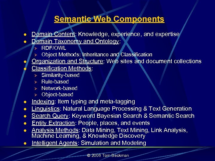 Semantic Web Components l l Domain Content: Knowledge, experience, and expertise Domain Taxonomy and