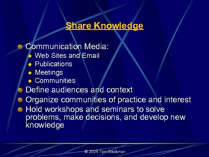 Share Knowledge Communication Media: l l Web Sites and Email Publications Meetings Communities Define