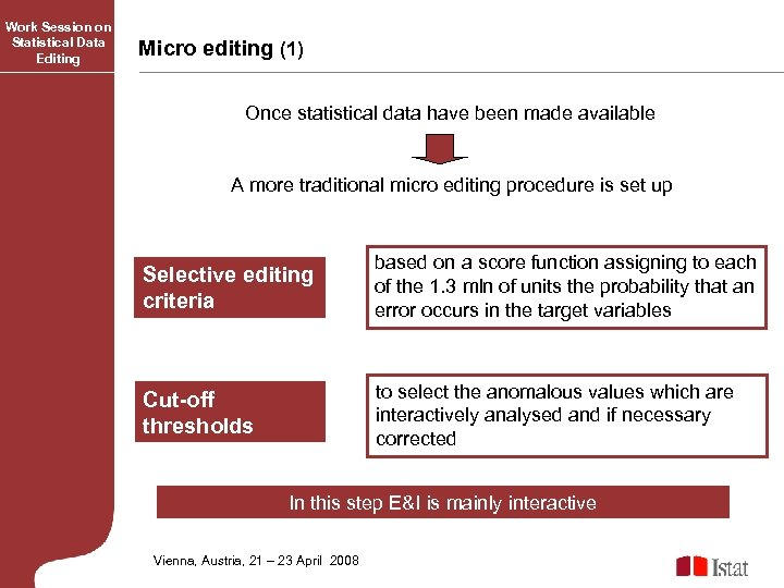 Work Session on Statistical Data Editing Micro editing (1) Once statistical data have been