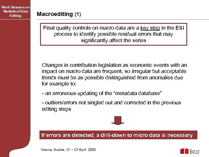 Work Session on Statistical Data Editing Macroediting (1) Final quality controls on macro data