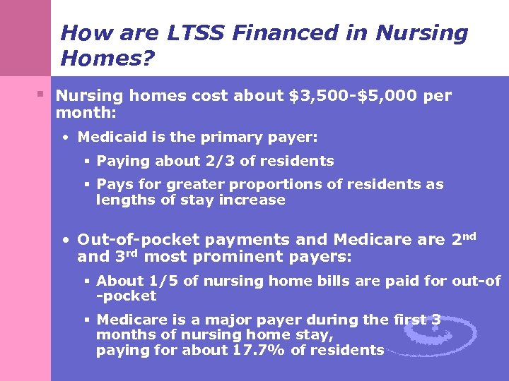 How are LTSS Financed in Nursing Homes? § Nursing homes cost about $3, 500