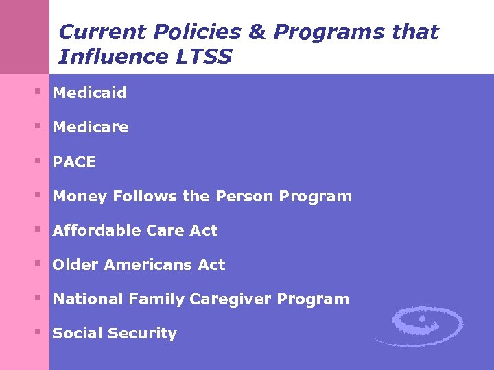 Current Policies & Programs that Influence LTSS § Medicaid § Medicare § PACE §
