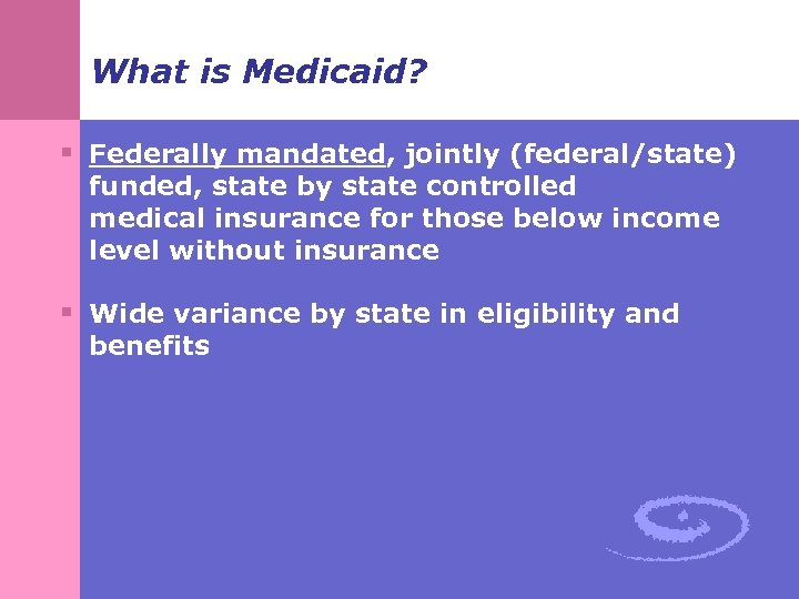 What is Medicaid? § Federally mandated, jointly (federal/state) funded, state by state controlled medical