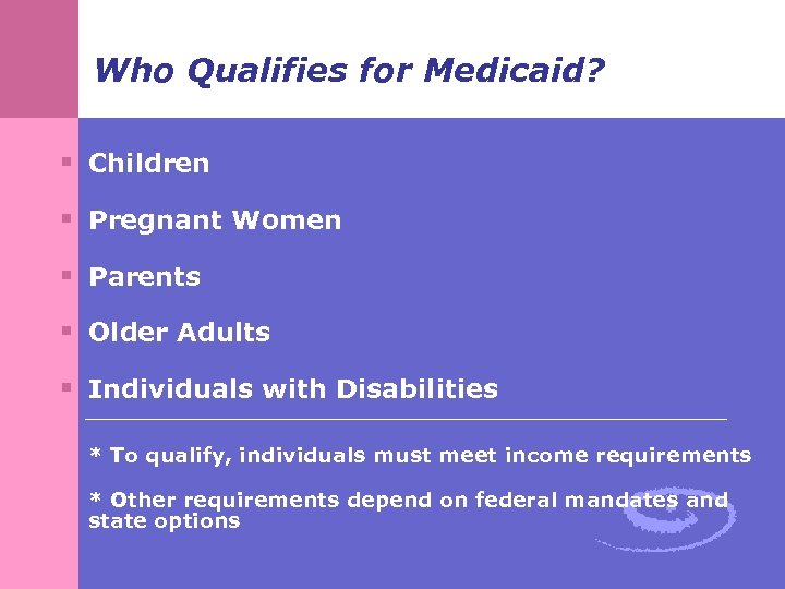 Who Qualifies for Medicaid? § Children § Pregnant Women § Parents § Older Adults