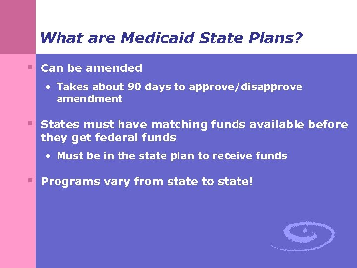 What are Medicaid State Plans? § Can be amended • Takes about 90 days