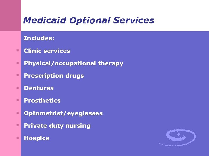 Medicaid Optional Services Includes: § Clinic services § Physical/occupational therapy § Prescription drugs §
