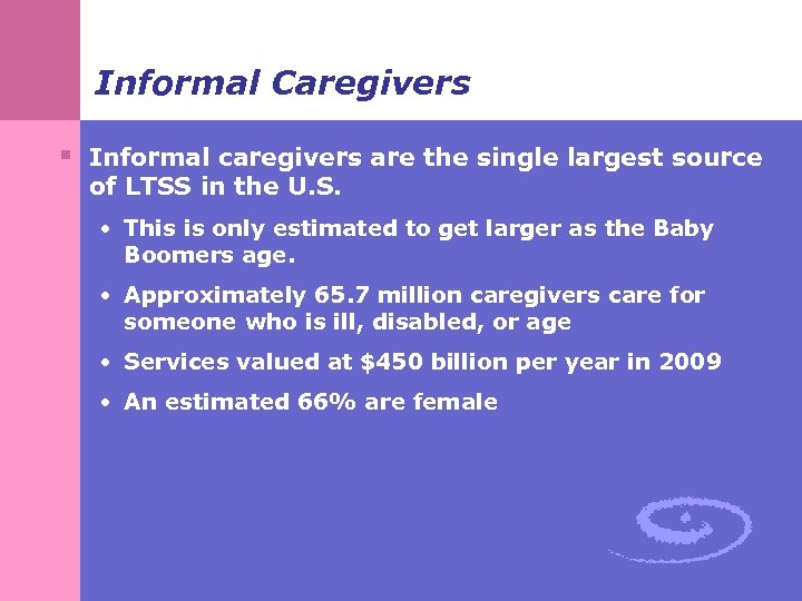 Informal Caregivers § Informal caregivers are the single largest source of LTSS in the