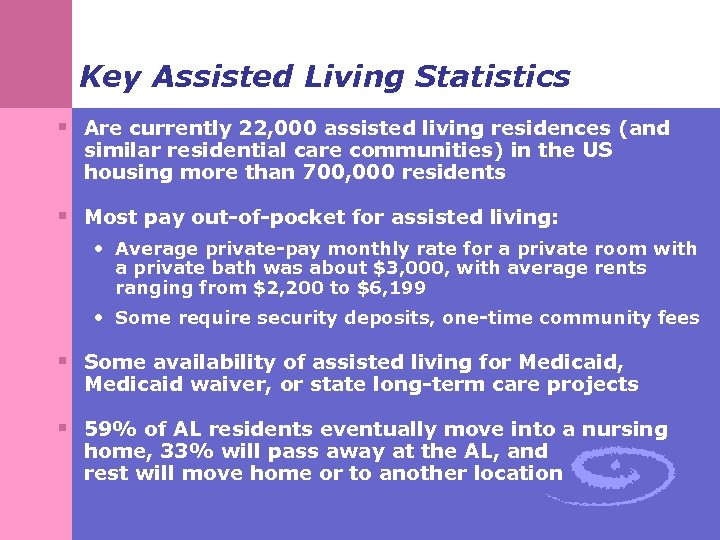 Key Assisted Living Statistics § Are currently 22, 000 assisted living residences (and similar