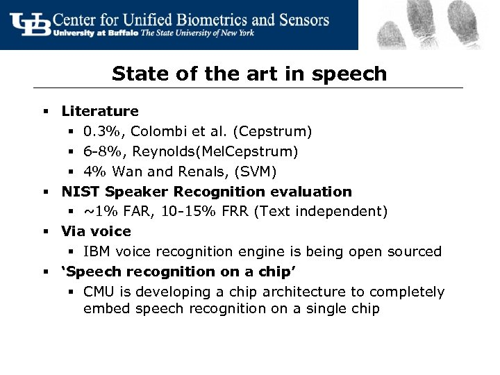 State of the art in speech § Literature § 0. 3%, Colombi et al.