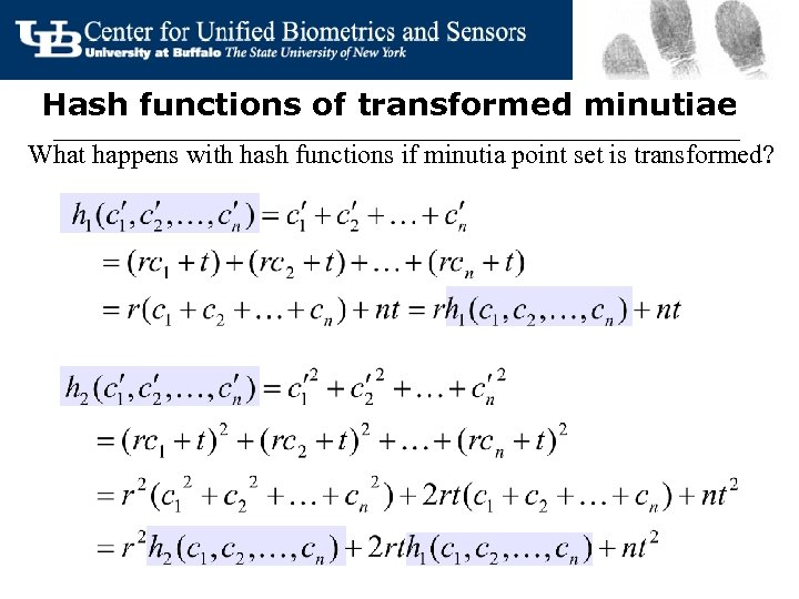 Hash functions of transformed minutiae What happens with hash functions if minutia point set