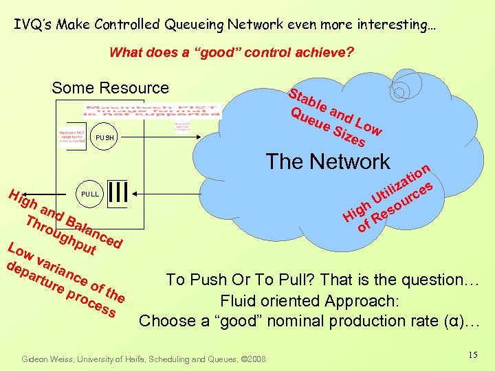 "IVQ's Make Controlled Queueing Network even more interesting… What does a ""good"" control achieve?"
