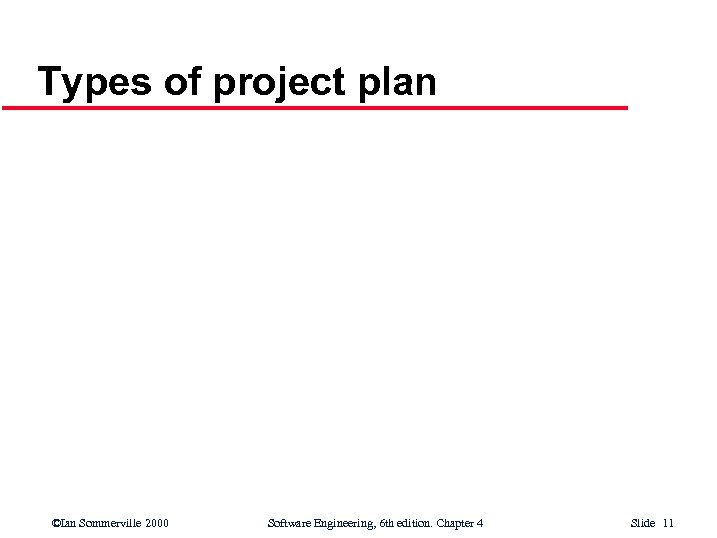 Types of project plan ©Ian Sommerville 2000 Software Engineering, 6 th edition. Chapter 4
