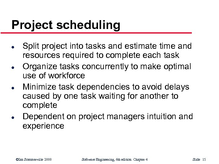 Project scheduling l l Split project into tasks and estimate time and resources required