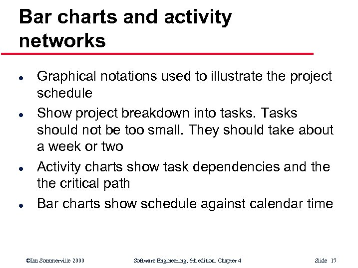 Bar charts and activity networks l l Graphical notations used to illustrate the project