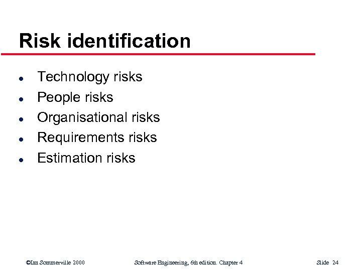 Risk identification l l l Technology risks People risks Organisational risks Requirements risks Estimation