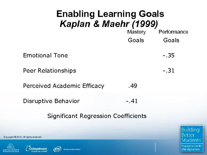 Enabling Learning Goals Kaplan & Maehr (1999) Mastery Performance Goals Emotional Tone -. 35