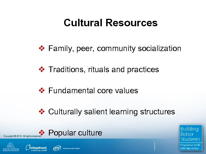 Cultural Resources v Family, peer, community socialization v Traditions, rituals and practices v Fundamental