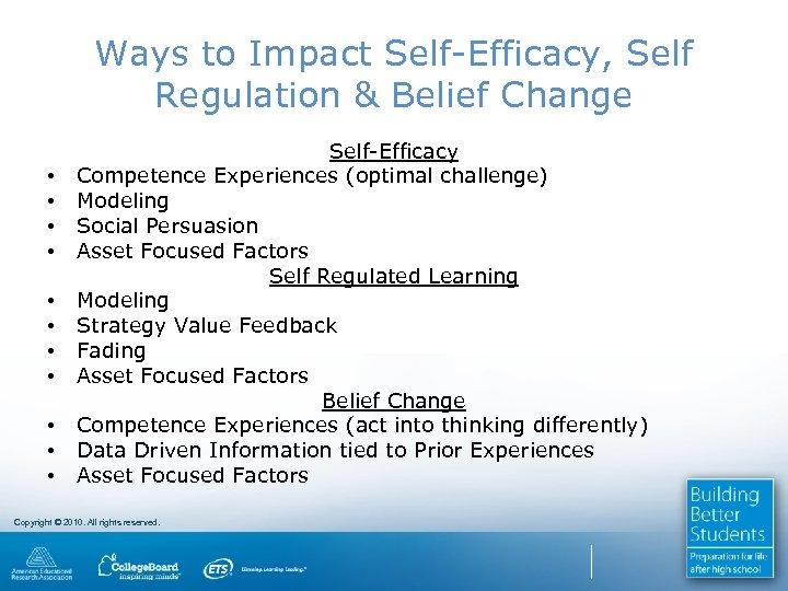 Ways to Impact Self-Efficacy, Self Regulation & Belief Change • • • Self-Efficacy Competence