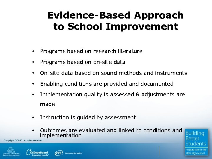 Evidence-Based Approach to School Improvement • Programs based on research literature • Programs based